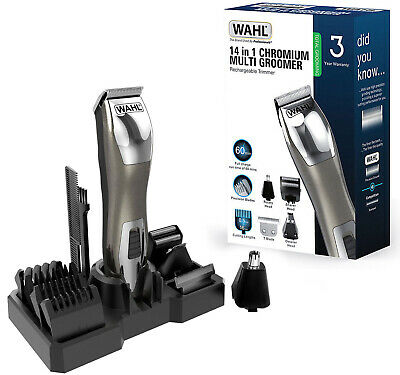 Wahl 9855-2417 Chromium 14 in 1 Rechargeable Multi Groomer Trimmer Shaver Kit