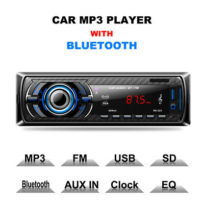 1DIN Car Stereo MP3 Player FM Radio SD/USB/AUX-in Bluetooth Remote Head Unit Kit