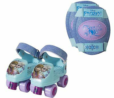 PLAYWHEELS Disney Frozen Glitter Kids Roller Skates Knee Pads Junior Size *NEW*