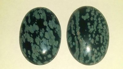 71.5ct/14.2g 2x Oval Snowflake Obsidian Pendant Type Bead Cabochon Gemstone