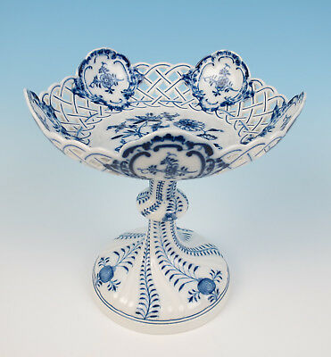 """Meissen Blue Onion 9"""" 23cm Reticulated Compote German Porcelain Tazza Dish 1st"""