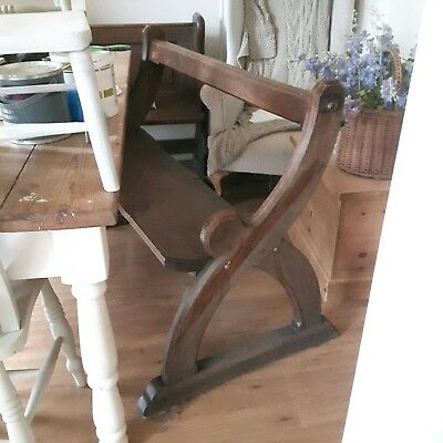 C19th Pugin Style Gothic solid Oak Bench Pew 4ft Antique Victorian