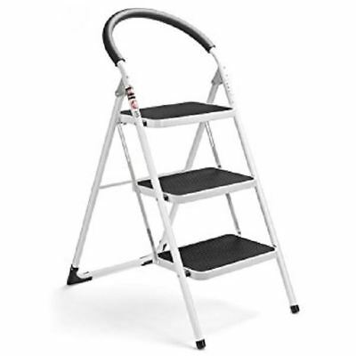 New 3 Step Metal Ladder Rubber Grips Anti Slip Stool Heavy Duty Steel Folding