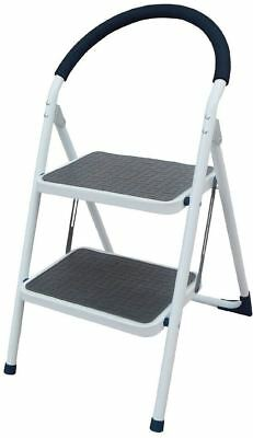 New 2 Step Metal Ladder Rubber Grips Steel Folding Stool Heavy Duty Anti Slip