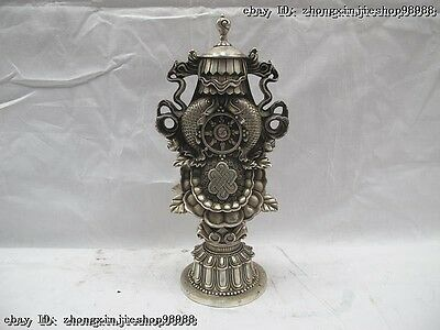 Tibet buddhism White Copper silver refined Lucky Eight treasures FaQi statue