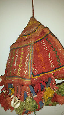 Vintage Indian hand embroidered cotton bag with 4 outer pockets with tassels