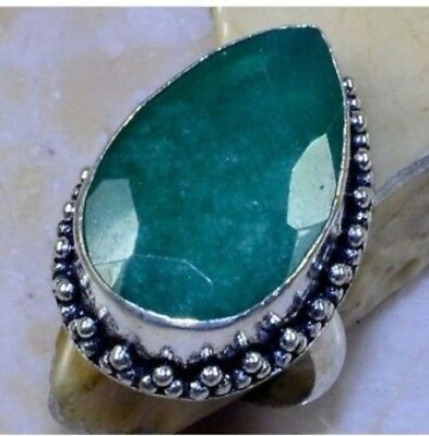 Beautiful Huge Genuine Earth Mined Emerald Love Solitaire  925 Silver Ring Sz 8