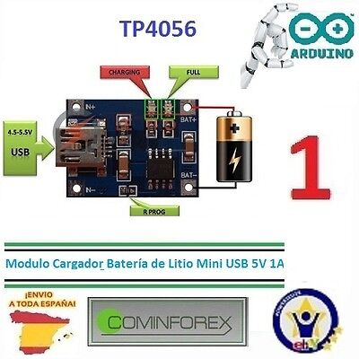 Modulo Cargador Bateria litio 5V 1A MINI USB TP4056  Battery Charger Module  M08