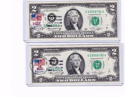 Series Of 1976 $2 1St Day Issue Consecutive Numbered Notes W/ Stamps, Sold As Ea
