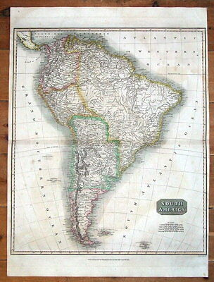 SOUTH AMERICA, JOHN THOMSON large format original hand coloured antique map 1817