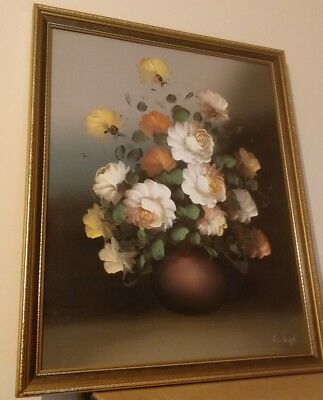 Vintage Oil On Canvas Floral Painting Wall Picture Gilt Frame Signed S LEIGH