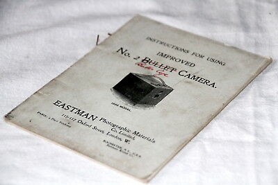 1896 Instructions for using the Kodak improved No2 Bullet camera super condition