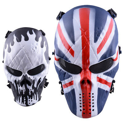 Airsoft Paintball Full Face Skull Skeleton Mask Protect Outdoor CS Tactical Gear