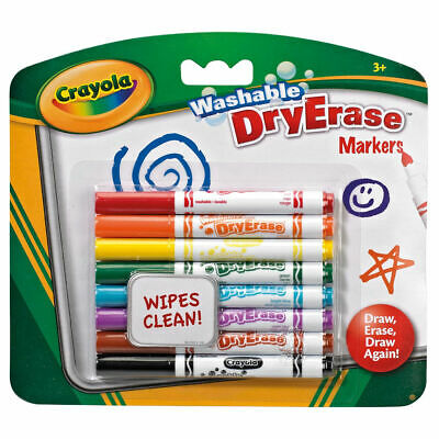 Crayola Dry Erase Washable Markers - Pack of 8 Clean Felt Tip Pens