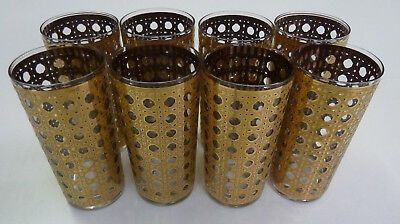 VTG 70's Gold Cocktail Glasses Mad Men Mid Century Hollywood Regency Set of 8