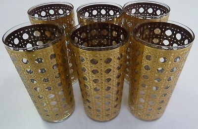 VTG 70's Gold Cocktail Glasses Mad Men Mid Century Hollywood Regency Set of 6