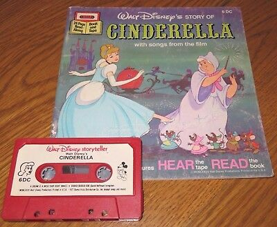 Walt Disney CINDERELLA Read/Sing Along BOOK on TAPE Cassette AUDIOBOOK