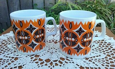 Two 1970's Vintage Retro Staffordshire Potteries Tea Coffee Mugs