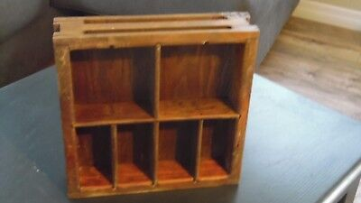"OAK Wood SHADOW BOX Cash Drawer TRAY Unusual 11"" x 11"" GREAT OLD LOOK TO IT!"