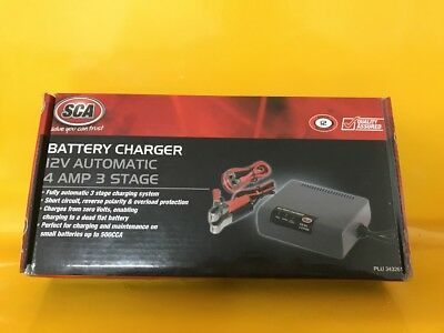 SCA Smart Battery Charger - 3 Stage, 12 Volt, 4 Amp