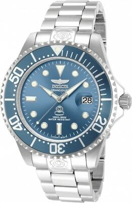 New Mens Invicta 13859 Grand Diver Automatic Blue Dial Steel Bracelet Watch