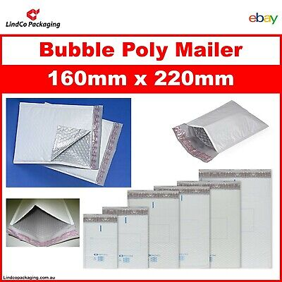 100PCS Bubble Cushioned Poly Mailer Bubble Padded Plastic Bag 160x220MM