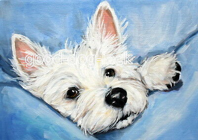 """West Highland Terrier ACEO WESTIE PRINT Painting """"PEEKING OUT"""" Dog Art RANDALL"""