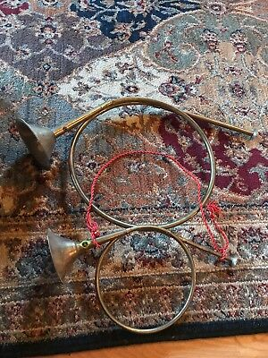"VINTAGE set of 2 13"" 18"" SOLID BRASS FRENCH HORN BUGLE WALL DECORATION"