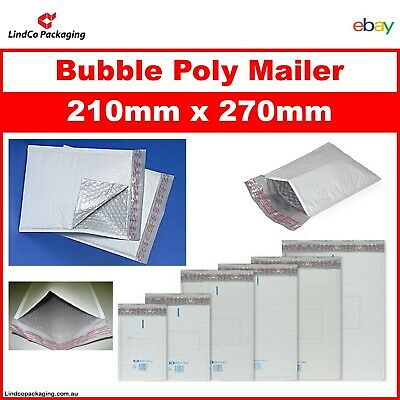 100PCS Bubble Cushioned Poly Mailer Bubble Padded Plastic Bag 210x270MM