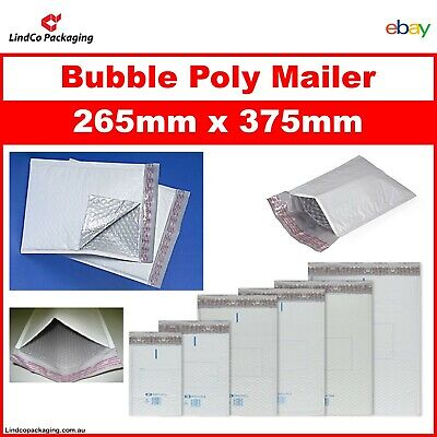 100PCS Bubble Cushioned Poly Mailer Bubble Padded Plastic Bag 265x375MM