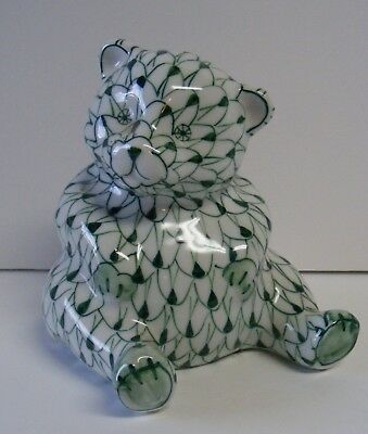 "GREEN Andrea by SADEK Handpainted Ceramic Bear Figurine Fishnet Design 4 1/4"" T"