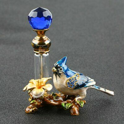 Retro Empty Metal Bird Glass Refillable Perfume Bottle Container Decor Gift 4ml