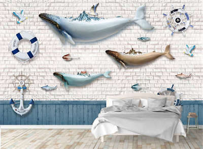 Various Dull Dolphin 3D Full Wall Mural Photo Wallpaper Printing Home Kids Decor