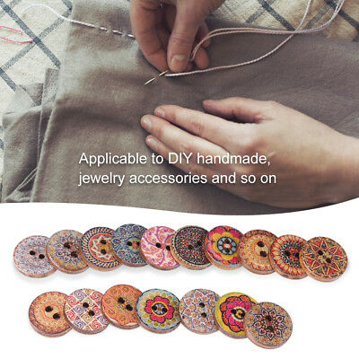 Set of 100pcs Mix Big Wood Buttons Decorative Vintage Needlework DIY 2-Hole 15mm