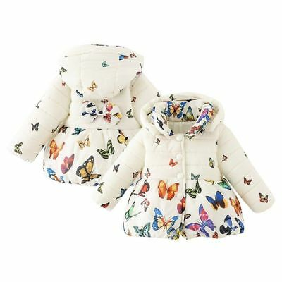US Warm Infant Baby Girls Butterfly Coat Kids Soft Cotton Jacket Outerwear 0-24M