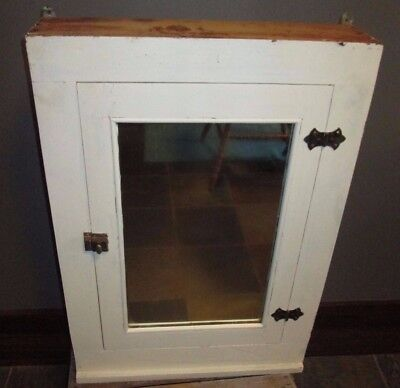 Antique Wood Medicine Cabinet With Mirror Solid PAINTED WHITE GALVAZNIZED BACK
