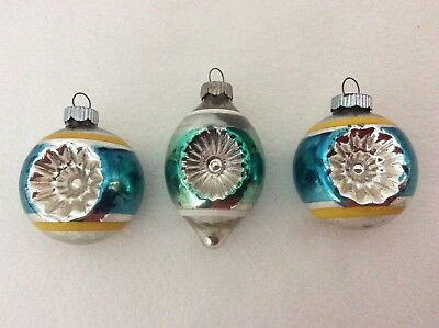 Vintage Shiny Brite Double Indented Mercury Glass Christmas Tree Ornaments Lot