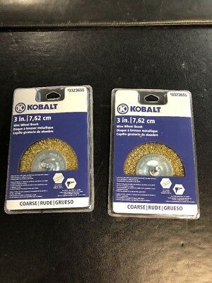 "LOT OF 2 KOBALT  3in Wire Wheel Brush 1/4"" Shank Coarse  #0323655"