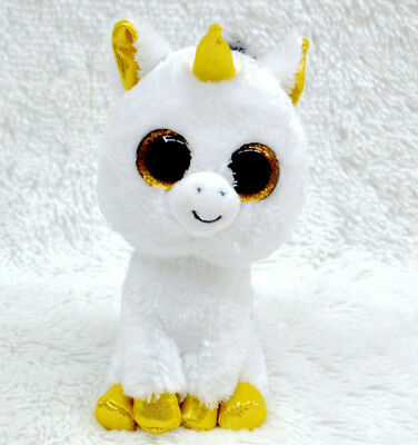 Cute unicorn TY Beanie Boos Plush Stuffed Toys Glitter Eyes (6 inch)
