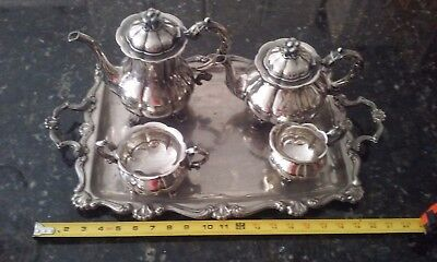 Vintage ALTA Denmark silver plated tea and coffee set with bonus tray