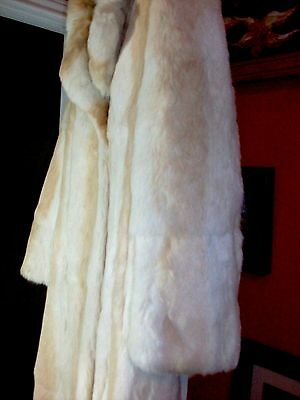 SUPER BEAUTIFUL! LONG Ivory Champagne Dyed Rabbit Fur Coat with Collar, Size M
