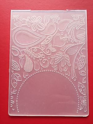 NEW• PAISLEY LEAVES SEMI CIRCLE EMBOSSING FOLDER For Cuttlebug Or Sizzix