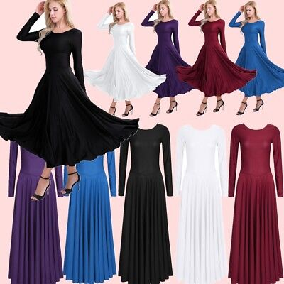 Women Round Neck Loose Full Length Long Sleeve Fit Liturgical Praise Dance Dress