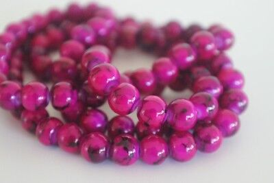 100 pce Hot Pink Round Drawbench Glass Beads 8mm Jewellery Making Craft