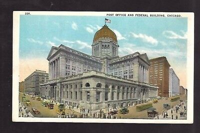 Vintage Postcard Post office & Federal Building Chicago IL Trolleys Old Cars