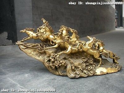 Chinese Pure Brass Copper Carved Lucky Nine Horse Statue