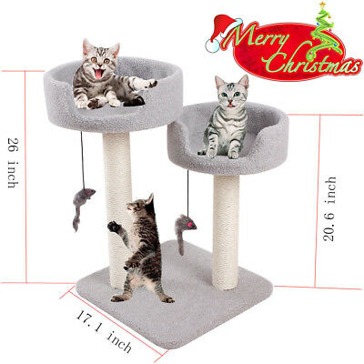 "26"" Cat Tree Condo Play Toy Furniture Scratch Scratching Post Kitten Pet House"