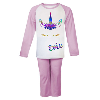 Personalised Unicorn Head Pjs Kids Pyjamas Childrens Girl Gifts Nightwear