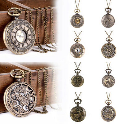 Vintage Bronze Pocket Watch Quartz Pendant Necklace Steampunk Retro Antique Gift