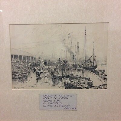 Antique Pen & Ink Sketch Of Great Yarmouth By C. Robertson? 1886 Fishing Catch